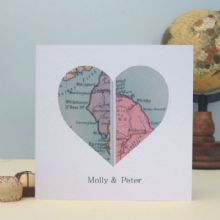 Personalised Vintage UK Map Card - Twin Location Valentine's Day, Wedding, Anniversary Card, Romantic Personalised Keepsake Card